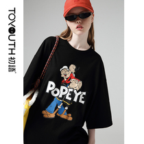 First language fall 2019 new Popeye IP Series loose handsome five-point sleeve black printing T-shirt female