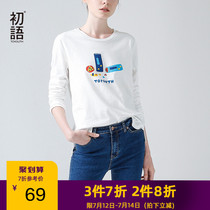 First language white T-shirt 2019 autumn leisure slim cartoon printing cotton long-sleeved round neck shirt bottoming shirt female