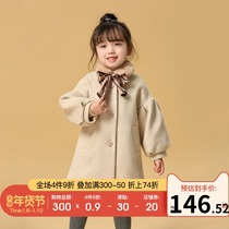 Baby woolen coat clip cotton long section en en bear 2019 new winter Foreign hair collar girl woolen coat