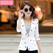 2019 new spring chic small suit seven sleeves Korean slim womens casual suit short jacket was thin