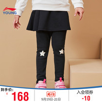 Li Ning childrens clothing skirt pants female children 2019 New 3-12 years old pants womens winter knitted sweatpants