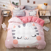 Coral velvet four-piece thickened flannel bedding cartoon girl quilt Crystal velvet warm three-piece powder