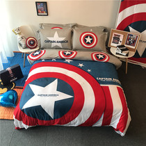 Captain America Cotton three-four-piece Superman boy dormitory cotton bedding student childrens sheets Li