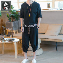 Summer mens Tang dress T-shirt thin Chinese style hanfu linen shorts set large size loose short sleeve two-piece set