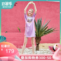 Mamba 2019 summer new fashion letters printed Korean loose straight long T-shirt dress female