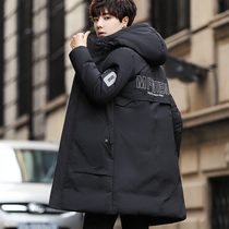 Mens coat Winter 2018 new Korean version of the trend in the long cotton clothes down cotton clothing cotton jacket handsome