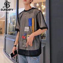 sundipy summer mens double net yarn fake two loose personality compassionate label round neck trend male short T-shirt