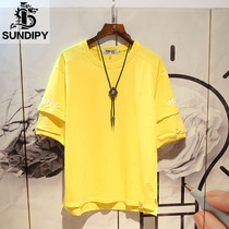 sundipy short-sleeved T-shirt summer youth letter five-point sleeve head trend mens compassionate Korean fashion half-sleeved