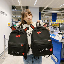 Cute parent-child size cat ears shoulder bag female embroidery small fish backpack high school campus students bag tide