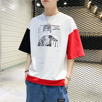 Tide brand t-shirt À Manches courtes pour hommes summer 2019 new trend personality printing 5 five-point sleeve cotton ins clothes