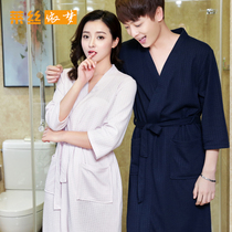 Fat MM spring and summer pure cotton waffle men and women sexy robe thin section bathrobe beauty salon bathrobe spa pajamas