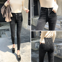 Tide brand jeans female feet pants summer 2019 new Korean version of the high waist slim thin thin pencil pants