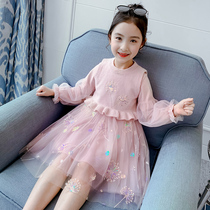 Girls dress set 2020 new spring and autumn Girl Network red fashionable two sets of children's princess skirt