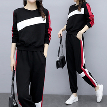 Plus size womens 2020 spring new fat sister cover meat was thin sweater suit autumn and winter foreign fashion two sets