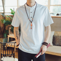 Chinese style T-shirt mens short-sleeved summer tide male loose large size clothes Chinese style Tang youth linen half-sleeved