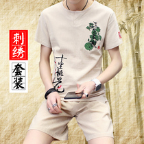 Summer linen suit mens cotton and linen short-sleeved T-shirt trend half-sleeved youth casual Chinese style embroidery two-piece suit