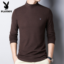 Playboy long-sleeved t-shirt mens semi-high collar double-sided fleece bottoming shirt autumn and winter Korean version slim mens round neck sweater