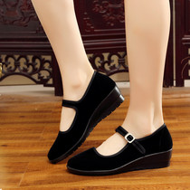 Black velvety shoes ladies work etiquette shoes wedges in heels Hotel Hotel non-slip single shoes square dance shoes