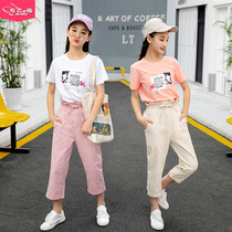 Girls summer suit 2019 new style 11 girls 14 years old children's students women's summer clothes