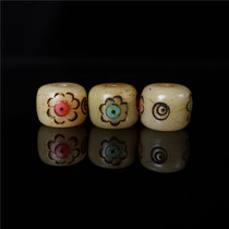Tibetan hand-carved inlaid cow bone barrel beads Tibetan hand-carved mantra point Buddha beads hand-carved cow bone DIY with beads