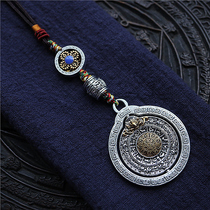 Tibetan copper alloy new jiugong brand pendant national wind can be rotated Seiko body to ward off evil nine House gossip waist card