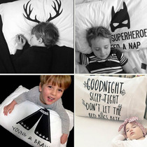 Explosions custom ins Nordic simple wind antlers Batman cartoon cotton pillowcase bedding photo props