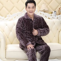 Winter flannel pajamas men's quilted three-layer thick warm middle-aged father padded jacket plus velvet home service