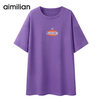 Amy love long purple T-shirt female loose short-sleeved ins summer 2019 new Korean half-sleeved student jacket