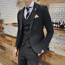 Casual striped suit male suit Korean business occupation three-piece suit dress groom married slim youth suit
