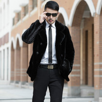 Imported mink fur coat men's mink fur men's whole mink coat black suit collar mid-length anti
