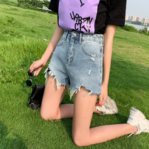 Denim shorts female Summer 2019 new high waist with the same paragraph wear hole a word loose was thin wide leg hot pants