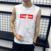 Male XL sleeveless T-shirt social people Cotton thin breathable vest fat sports loose shoulder basketball shirt