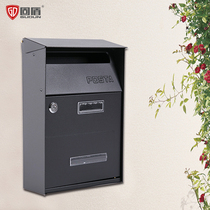 Solid shield letter box mailbox outdoor European-style villa outdoor wall with lock retro rain mailbox Suggestion Box new