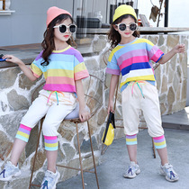 Super foreign girls suit big Children summer two sets of large Children Korean casual girls rainbow suit foreign summer