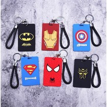 Card sets lanyard hanging neck Marvel students campus meal card sets bus access control cute boys silicone school card badge 07