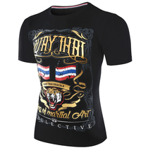Thailand MUAYTHAI fashion Tide brand Sanda fight short sleeve adult fitness plus children Muaythai golden tiger T-shirt