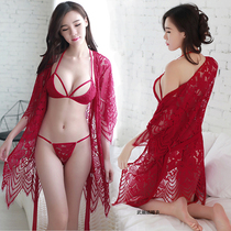 Sexy pajamas women transparent hot adult hollow fun nightdress mood clothes three-point lace perspective underwear