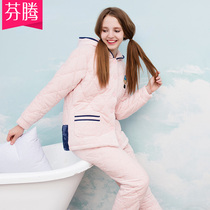 Fen Teng autumn and Winter new pajamas coral fleece cotton long-sleeved hooded cardigan cartoon warm home service suits