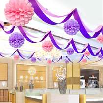 Wave flag pull flower decoration layout Spring Festival New Year decorations supplies festive New Year shop opening bunting flag