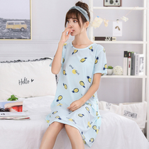 Pajamas summer plus fertilizer to increase the size of cotton loose short-sleeved nightdress fat MM200 kg 5XL thin Korean version of the home service
