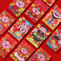 Creative year of the Pig cartoon 2019 New Year Spring Festival pressure year Bao Li is a new year hundred thousand dollars red envelopes