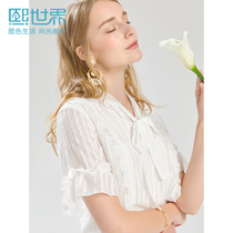 Hee World white loose cover belly very fairy chiffon shirt female 2019 summer new short-sleeved bow