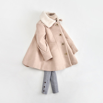 Girls woolen jacket in the long section thickened fur collar children's autumn and winter clothing ENN Bear baby baby woolen coat