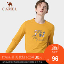Camel mens autumn 2019 New mens casual sweater Korean round neck letter printing primer shirt mens tide