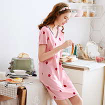 Fenteng new cotton nightdress female summer short-sleeved pajamas cute V-neck sweet strawberry skirt dress Home Service
