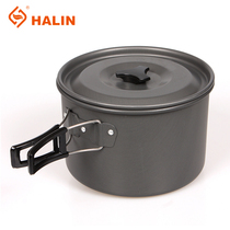 Outdoor single pot camping cooker large single pot cooking pot single portable camping pot with hard alumina