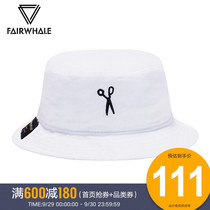 Mark huafei male sun hat 2019 summer new hit color embroidery casual breathable cotton white fisherman hat