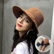 Empty top hat summer straw hat solid color sun hat large along cotton and linen foldable sun hat anti-UV female summer