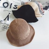 4e1ce7b374b8c Japanese chic summer art roll lotus leaf Basin hat female knit fisherman  hat Korean casual wild