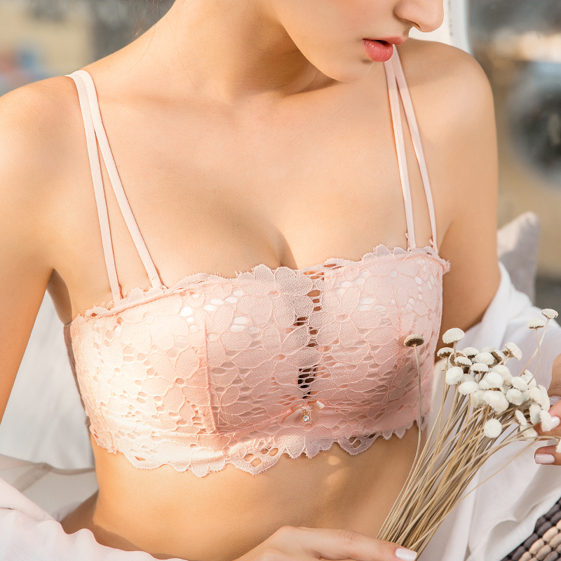 Underwear women gathered without steel ring thin collection pair cream bra sexy small breast set girl half cup bra